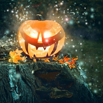 Zucca di halloween all'aperto