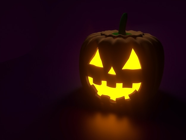 Zucca di halloween con una faccia felice