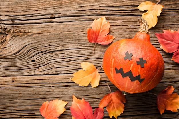 Zucca di halloween e foglie di autunno di vista superiore