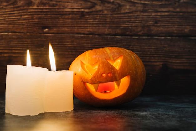 Zucche Di Halloween Terrificanti.Zucca E Candele Illuminanti Terrificanti Di Halloween Scaricare