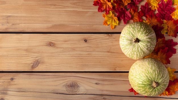 Zucca verde con foglie di autunno su fondo in legno