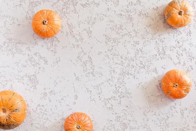 Zucche di autunno sul fondo bianco della tavola
