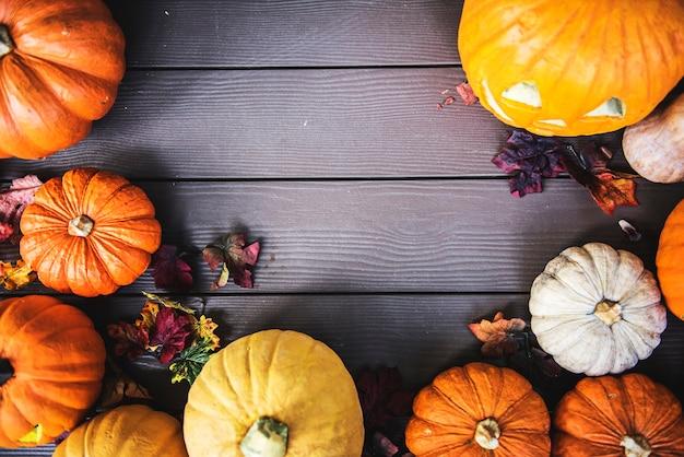 Zucche di halloween su fondo in legno