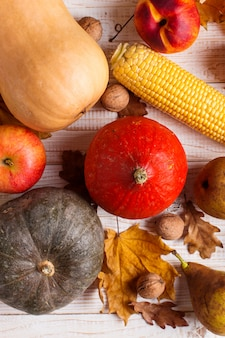 Zucche di verdure diverse, mele, pere, noci, mais, pomodori, foglie gialle secche su fondo di legno bianco. autumn harvest, copyspace.