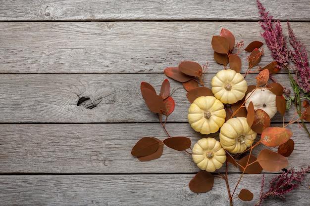 Zucche mature e ramo di foglie secche su legno rustico. raccolta di frutti autunnali e concetto di cucina, vista dall'alto
