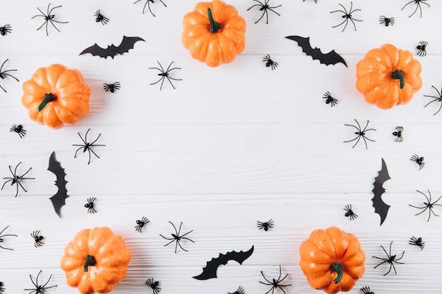 Zucche, ragni e pipistrelli su bianco in legno