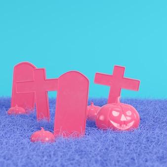 Zucche rosa con croci e lapidi su sfondo blu brillante in colori pastello. concetto di minimalismo