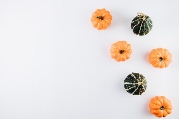 Zucche su un bianco. autunno, autunno, concetto di halloween
