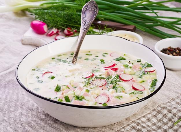 Zuppa fredda con cetrioli freschi, ravanelli, patate e salsiccia con yogurt in una ciotola