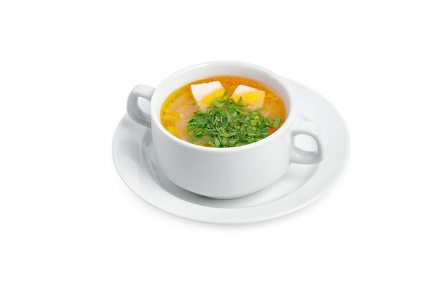Zuppa isolata su uno sfondo bianco