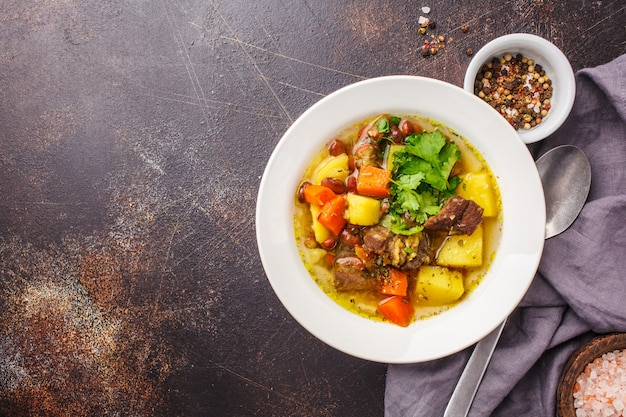 Zuppa tradizionale eintopf con carne, fagioli e verdure in un piatto bianco, copia spazio.