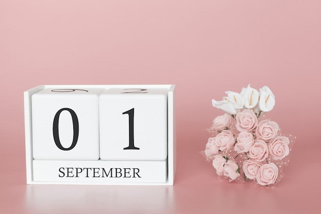 01 de setembro. dia 1 do mês. calendar o cubo no fundo cor-de-rosa moderno, no conceito do negócio e em um evento importante.