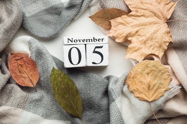 05 de novembro em calendário feito de cubos brancos sobre manta com folhas. postura plana