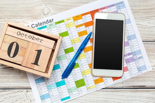 1 de outubro. 1 de outubro branco calendário de madeira em madeira abstrato. dia de outono