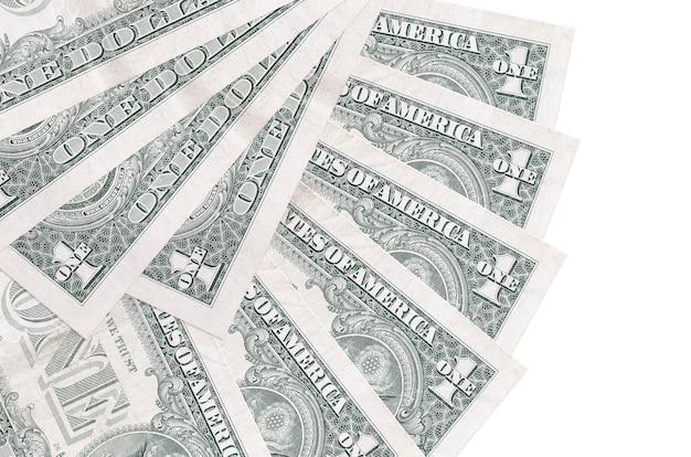 1 notas de dólar dos eua encontram-se isoladas na parede branca com espaço de cópia empilhados em forma de leque close-up. conceito de transações financeiras
