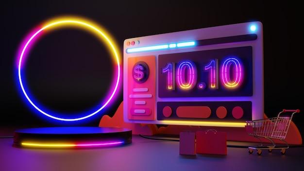 10.10 a luz de néon brilha nas compras online. renderização 3d