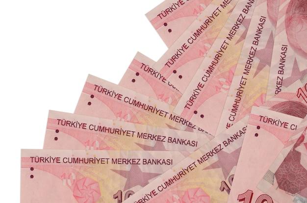 10 contas de liras turcas encontram-se em ordem diferente, isoladas no branco. banco local ou conceito de fazer dinheiro.