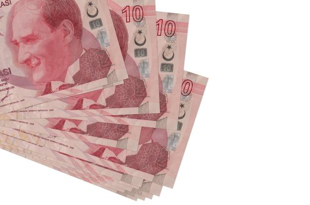 10 contas de liras turcas encontram-se em pequeno grupo ou pacote isolado no branco. conceito de negócios e câmbio