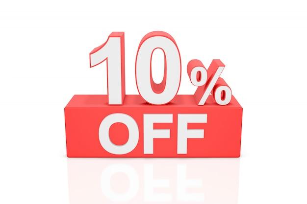 10% de desconto. banner de venda. renderização em 3d.