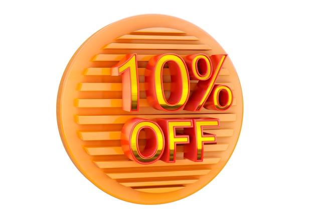 10% de desconto isolado na superfície branca, selo promocional para aplicação em banner, label e tag.