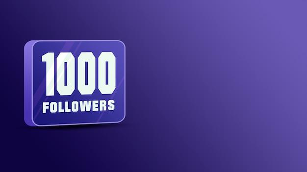 1000 seguidores nas redes sociais, vidro 3d
