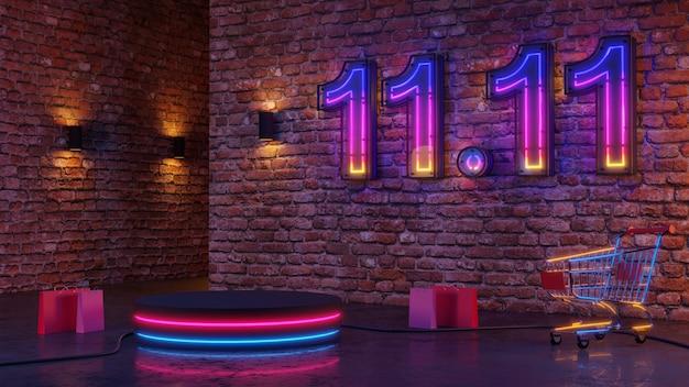 11.11 pódio de brilho de luz de néon no fundo da parede de tijolos. renderização 3d