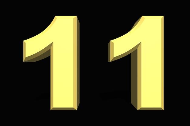 11 onze número 3d azul em fundo escuro