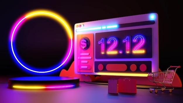 12.12 a luz de néon brilha nas compras online. renderização 3d