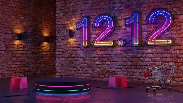 12.12 pódio de brilho de luz de néon no fundo da parede de tijolos. renderização 3d