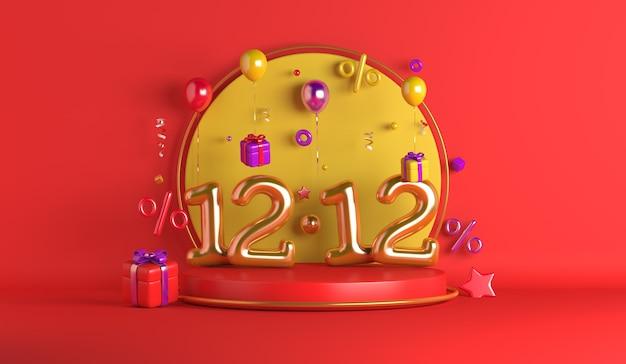 1212 fundo de decoração de pódio de exibição de venda de dia de compras com caixa de presente de balão