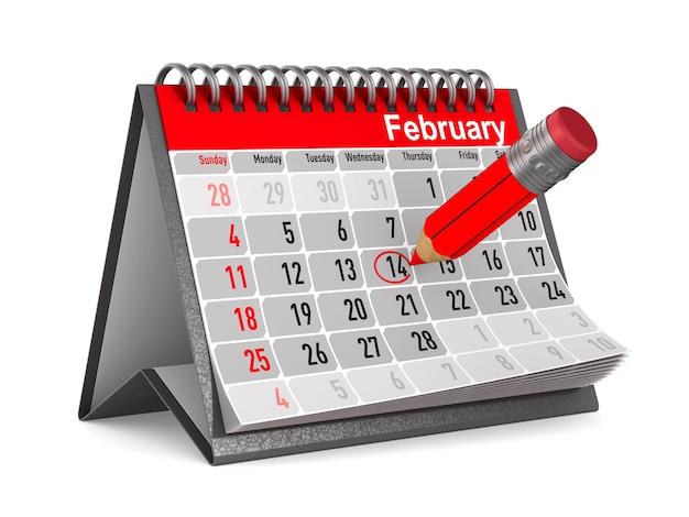 14 de fevereiro. calendário em fundo branco. ilustração 3d isolada
