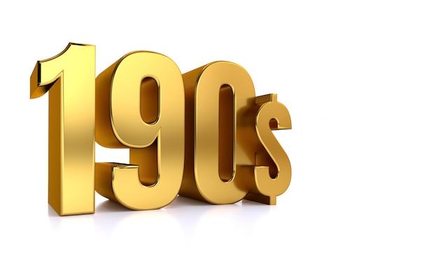 190 $. símbolo de cento e noventa preços. ouro texto 3d render. sobre fundo branco