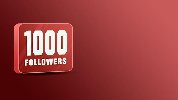 1k seguidores nas redes sociais, vidro 3d