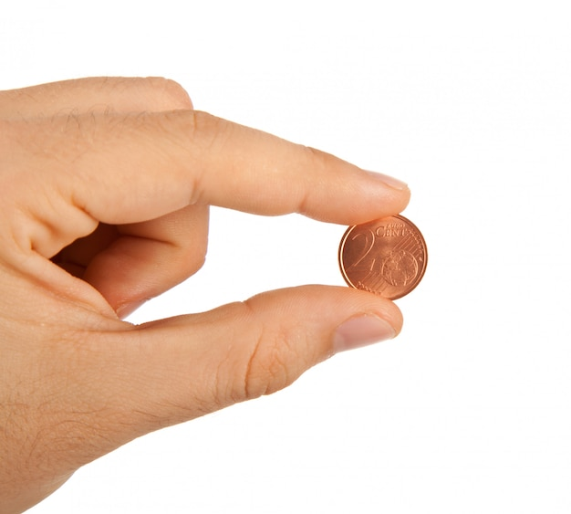2 cêntimos de euro entre os dedos