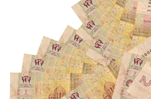 2 contas de hryvnias ucranianas encontram-se em ordem diferente, isoladas no branco
