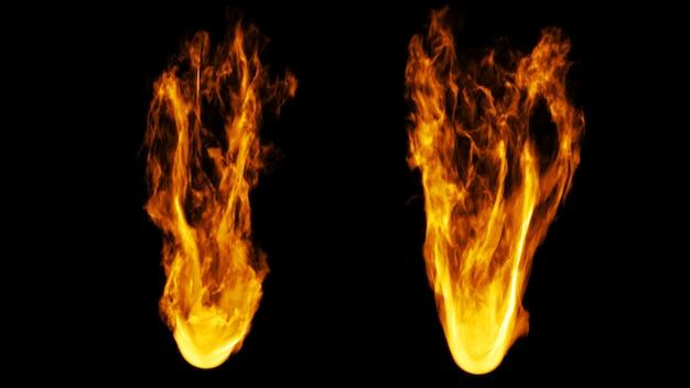 2 estilos de fogo no fundo escuro