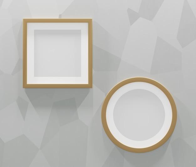 2 molduras douradas sobre um fundo cinza abstrato. renderização 3d