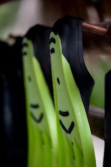 2 nadadeiras de mergulho verdes brilhantes que parecem felizes cyclops com um bigode