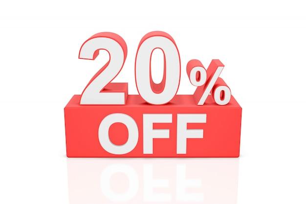 20% de desconto. banner de venda. renderização em 3d.