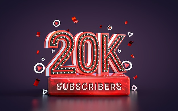20 mil assinantes comemoração vinte mil seguidores cartão de felicitações nas redes sociais 3d render
