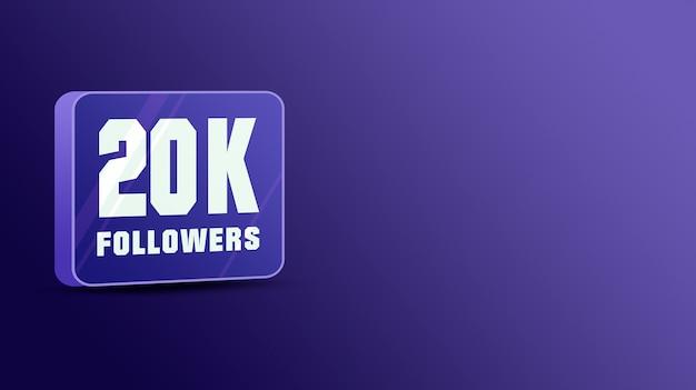 20 mil seguidores nas redes sociais, vidro 3d
