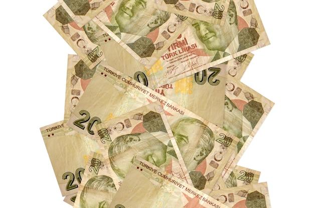 20 notas de liras turcas voando isoladas no branco