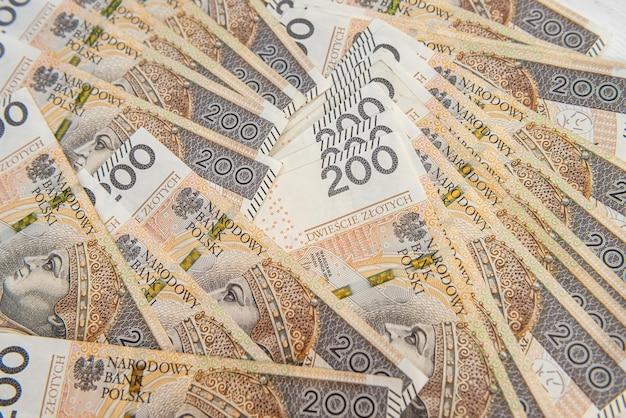 200 pln polonês notas de banco zloty como plano de fundo do negócio. conceito de dinheiro