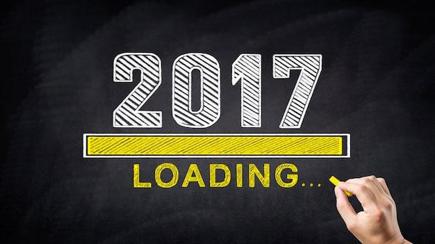 2017, com uma barra de carga abaixo