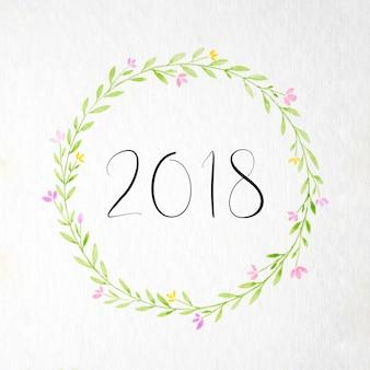 2018 na mão, pintura, flores, grinalda, aquarela, estilo, sobre, branca, papel, fundo