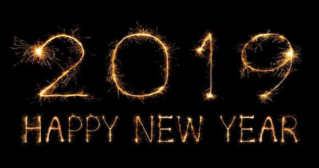 2019 feliz ano novo com fogo de artifício sparkle