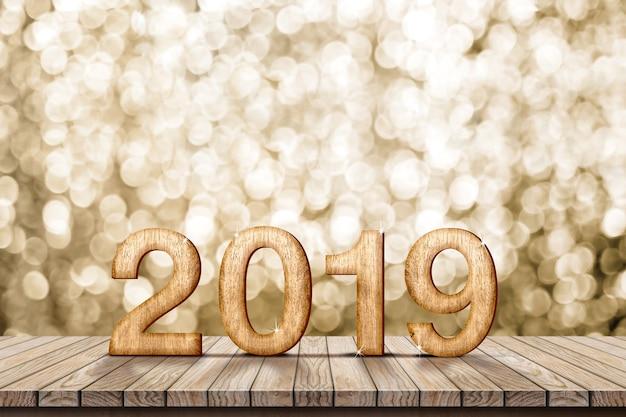 2019 feliz ano novo madeira na mesa de madeira com parede de bokeh ouro cintilante