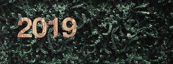 2019 feliz ano novo na parede de folhas verdes