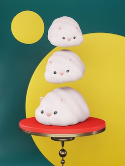 2020 ano novo chinês. muitos ratos fofos penduravam em um fundo branco, maquete minimalista de luxo. ano do rato