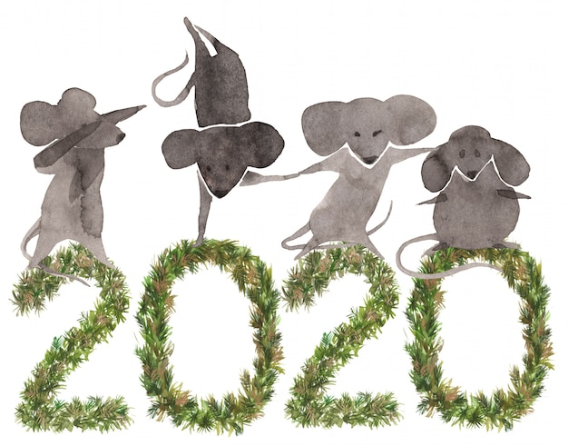 2020, ano novo, fundo, com, cute, mouses